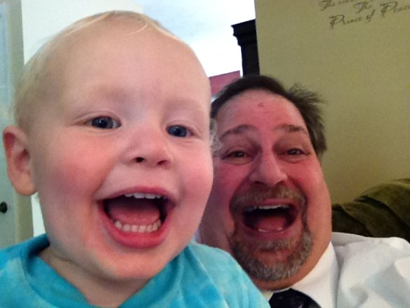Hamming it up with my East Coast grandson Rockwell