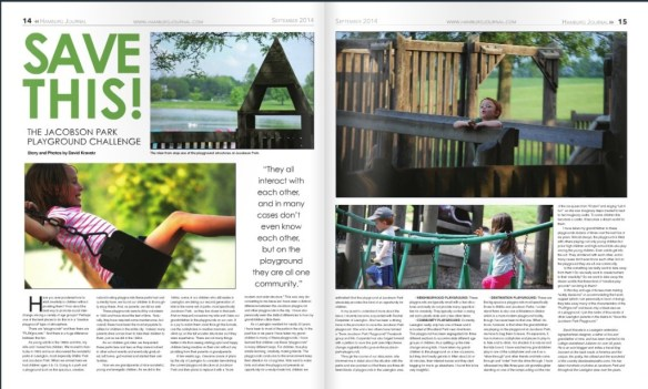 Hamburg Journal, Sept 2014.  My article about Jacobson Park
