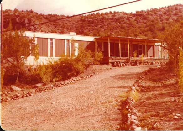 Mom's singlewide trailer in Jemez Springs, NM (ca. 1978)