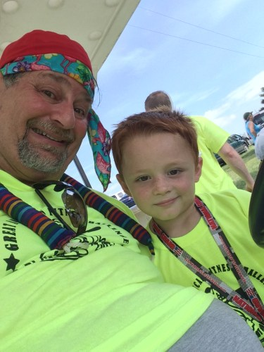 Landen and Grampz after a 5K walk in June 2015