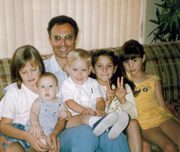 Joe Kravetz with grandkids in 1989...Amaree, Solomon, Seth, Marissa and Chelsea
