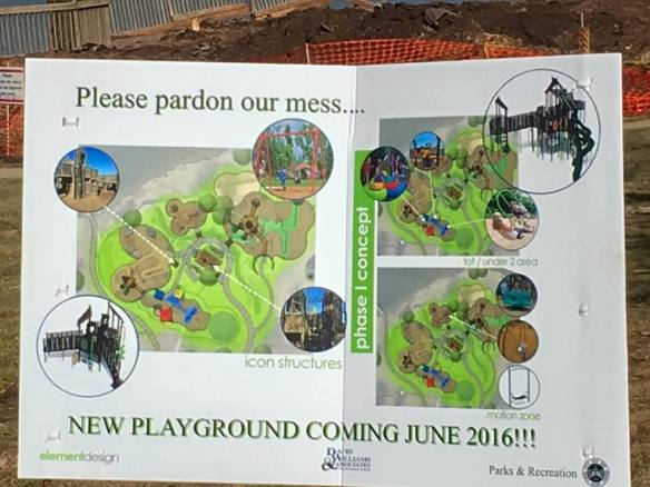 A billboard at the park details the future playground, scheduled for June 2016