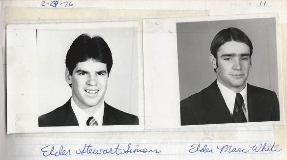 My two LTM Companions as they looked in 1976. This was scanned from my Missionary Journal.