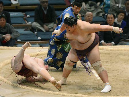 Ultima victoria de Miyabiyama ante el Juryo Oniarashi (Foto: Asojima - Sumo Forum)