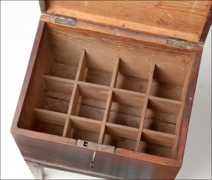 inside of cellarette showing bottle compartments