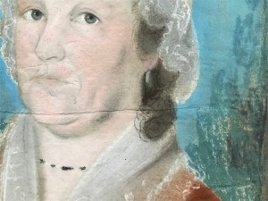 detail of portrait drawing showing paper sheets glued together