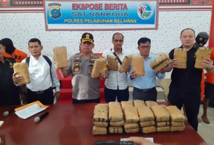 FACHRIL/SUMUT POS PERLIHATKAN: Kapolres Pelabuhan Belawan memperlihatkan barang bukti 40 kg ganja.