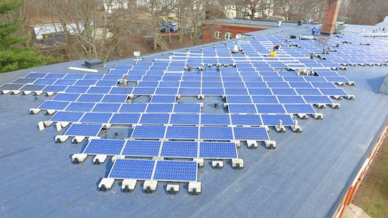 Commercial Solar panel removal and re-installation and Wire management overview 278 panels Waterbury CT-Sun-Wind Solutions