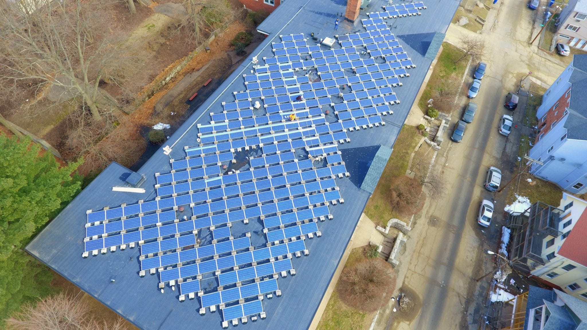 Commercial Solar panel removal and re-installation and Wire management Drone Picture 278 panels Waterbury CT-Sun-Wind Solutions