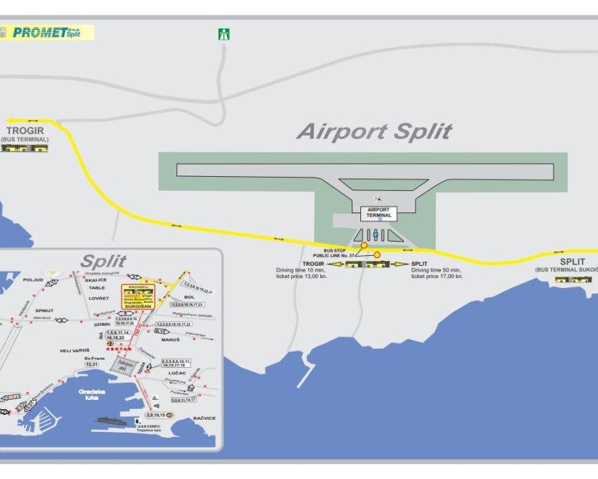 Схема автобусного маршрута №37 в Сплите (относительно аэропорта)