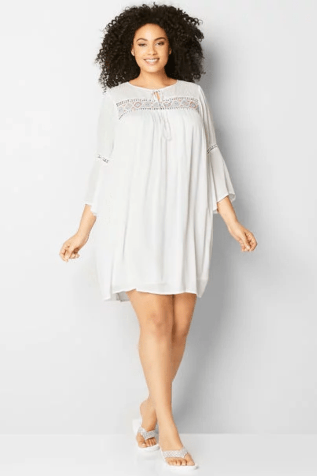 AZTEC EMBROIDERED BABYDOLL A-LINE DRESS