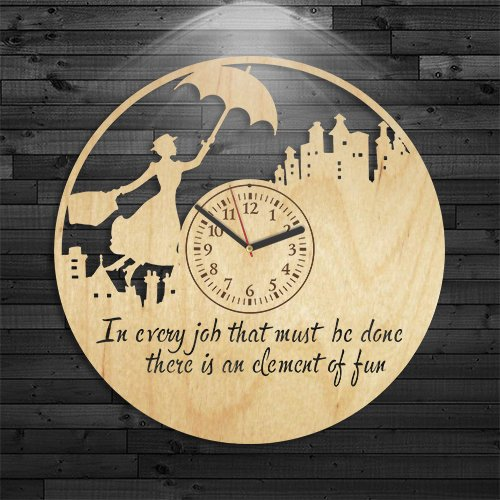 Mary Poppins Clock, Wall Clock Vintage, Gift For Boy, Mary Poppins Wood Clock, Movie Wooden Clock, Cartoon Wooden Clock, Disney Birthday Gift, Wall Clock Modern, Mary Poppins Gift For Kids