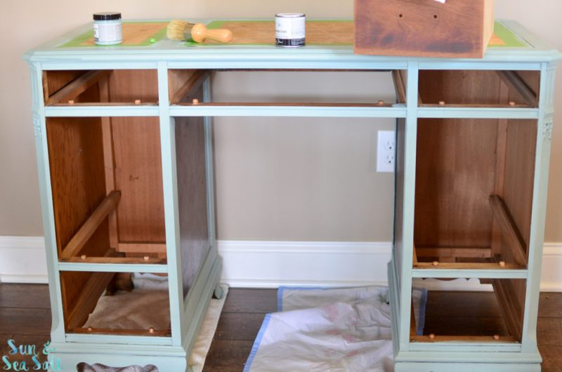 Once the piece was painted, I waxed the finished product and the bare drawers.