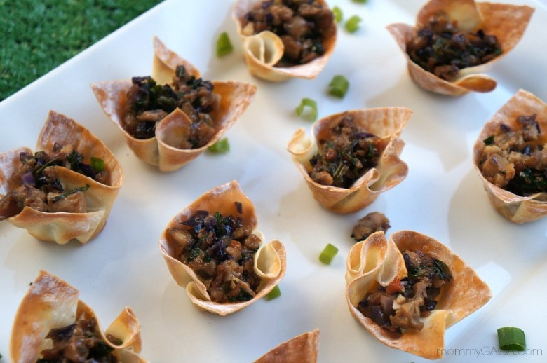 A different . kind of Super Bowl snack are these Thai Chicken Appetizer: Mini Wonton Cups
