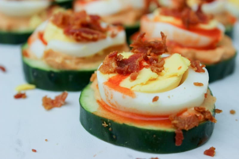 Bacon and Egg Cucumber Bites are perfect as Super Bowl snacks or even for a classy brunch