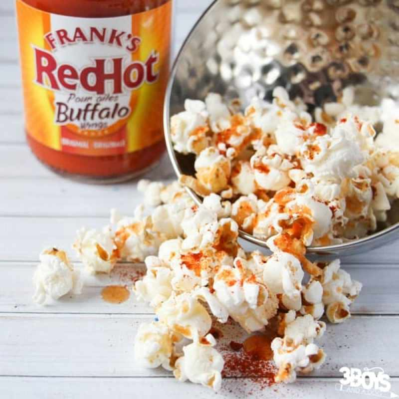 Buffalo Style Popcorn for your super bowl snacks table