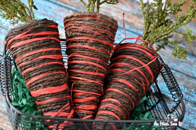 DIY Twine Carrots for rustic spring decor