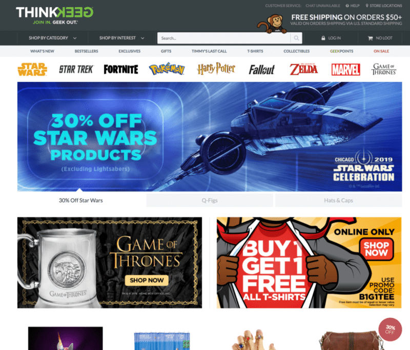 ThinkGeek provides unique and authentic product experiences that stimulate pop culture geeks imaginations and fuel their geek core.