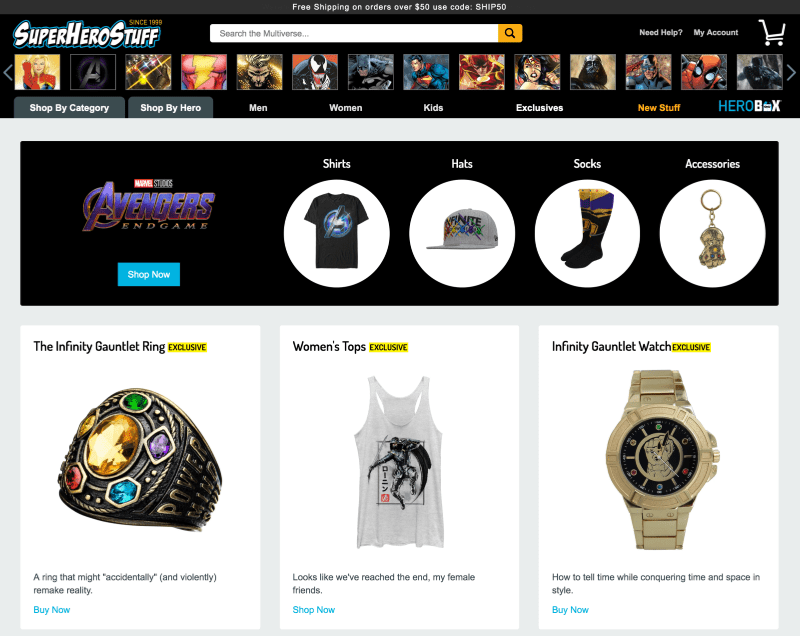 SuperHeroStuff.com has all the best geek gear from t-shirts to your own Infinity Gauntlet