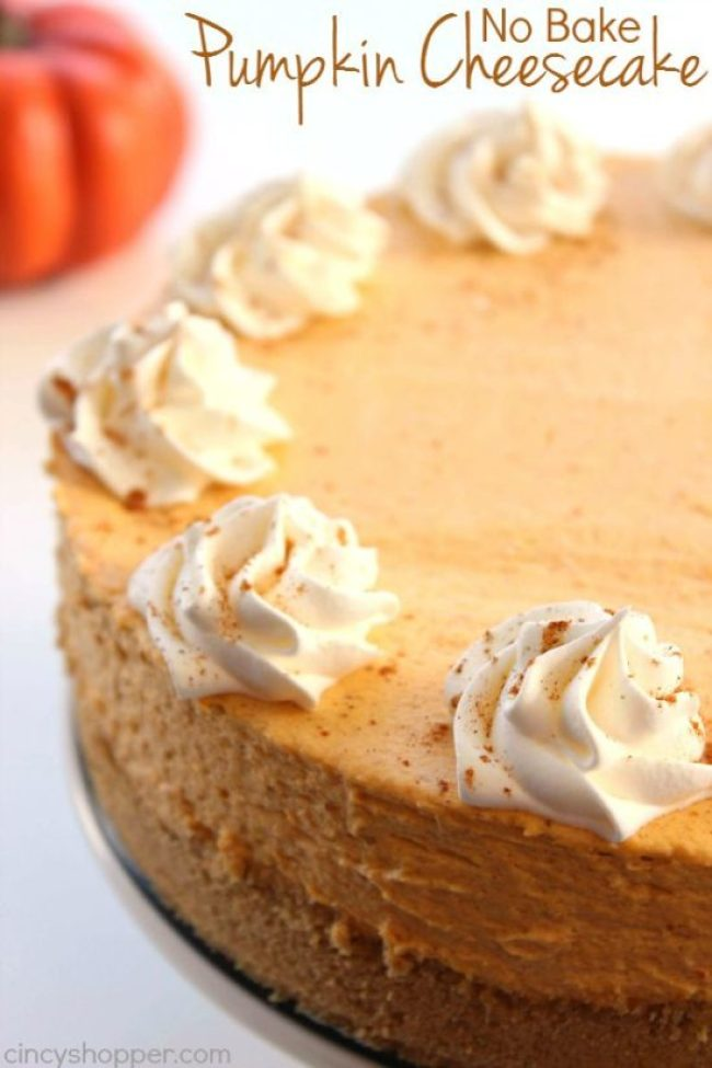 No Bake Pumpkin Cheesecake For Thanksgiving Dessert