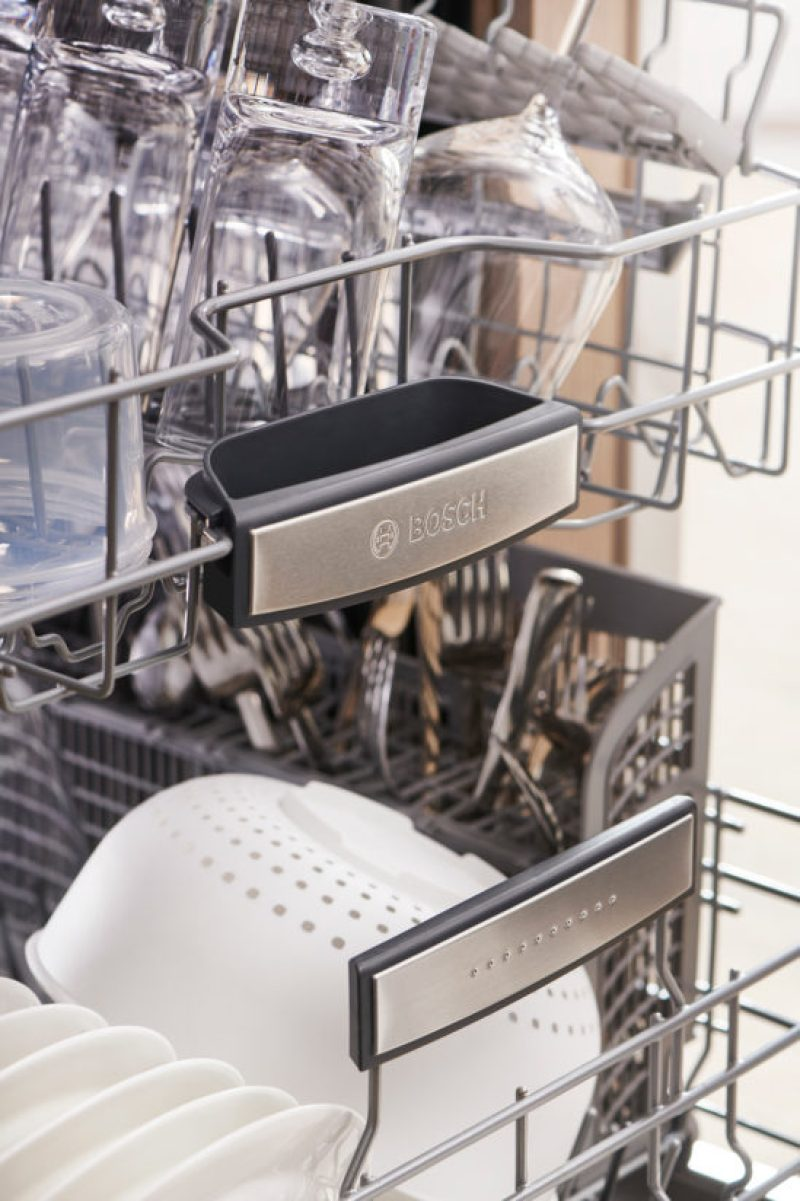 The Bosch 800 Series Dishwasher features a patented CrystalDry™ technology delivers 60% better drying results