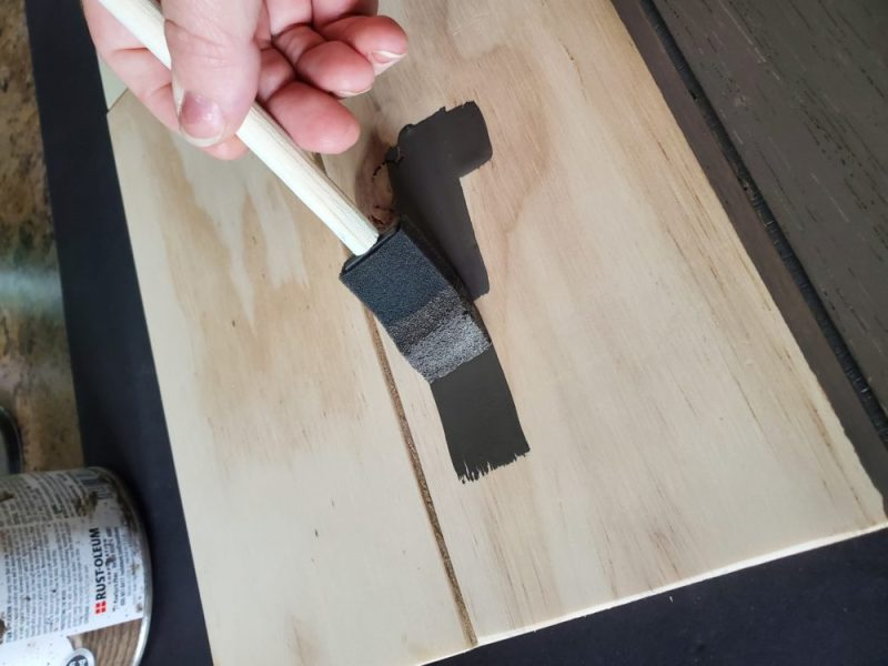 Stain your boards and in between the boards of your DIY key hook