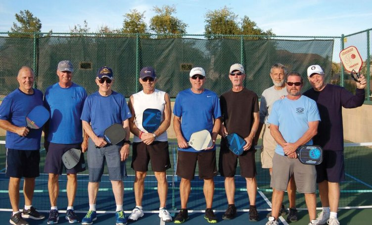 Men's Pickleball team players from left are Jerry McInturf, Gary Shaugnessy, Ray Schwimmer, Greg Libby, Alan Trudeau, Larry Brink, Jeff Andrews, Dan Buescher (Captain) and Wayne Blosh