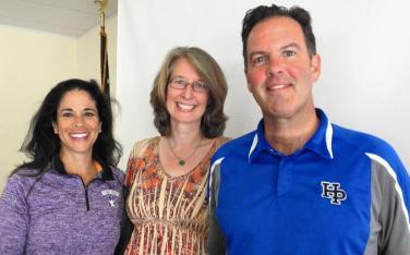 Barbara de Nekker, center, the new exective director of Community — The Anti-Drug, is flanked by co-presidents Laura Kaufman and Patriick Sassen. (Karen Berkowitz / Pioneer Press)