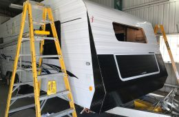 completed insurance repairs of damaged panels on caravan