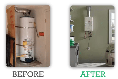 Tankless Water Heater vs. Hot Water Heater comparison.
