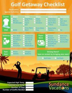 Golf Vacation Checklist Sundance Vacations