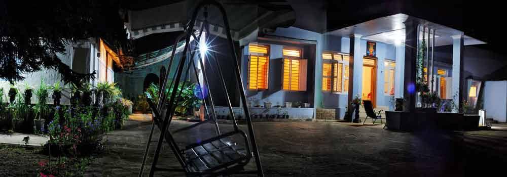 Sundara Mahal garden lit up at Night