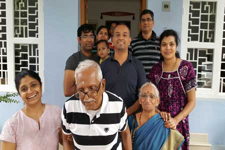 Guests of the Only Vegetarian Homestay in Wayanad Narayanan Ramachandran and family
