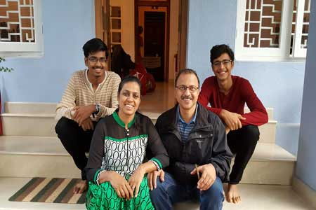 Guests of the Only Vegetarian Homestay in Wayanad Vrunda, Prajakt Mehta, Vikrant and Siddhant