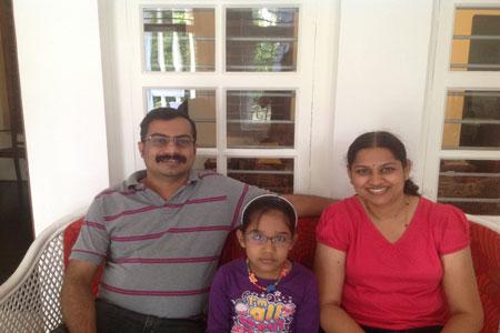 Sundara Mahal Vegetarian Homestay guests Sandhya and family