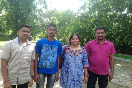 Sundara Mahal Vegetarian Homestay guests Seetha and family