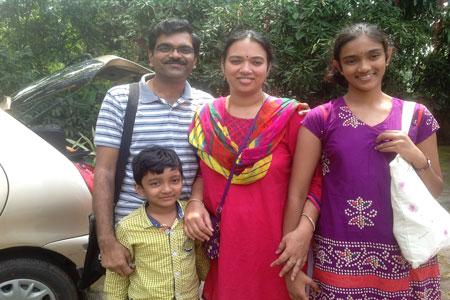 Sundara Mahal Vegetarian Homestay guests Bhanurekha and family