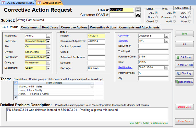 CAR Form Quality Database Sunday Business Systems