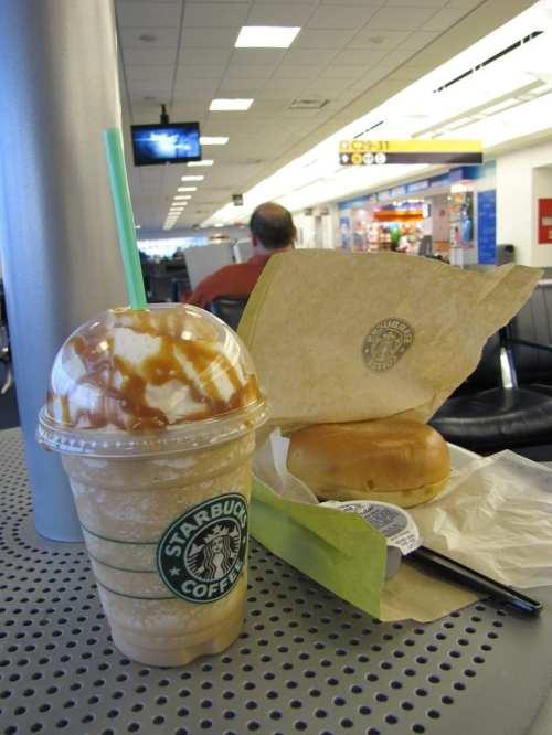 Texas aeroporto houston starbucks bagel cafe coffee