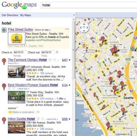 google maps pesquisa preco hotel