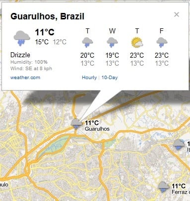 Google Maps Weather Previsão do Tempo