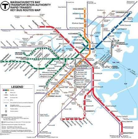 Mapa das linhas de metrô de Boston