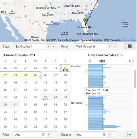 Google Flight Search - escolha datas