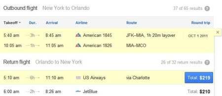 Google Flight Search - voo 2