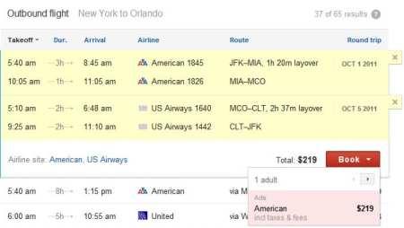 Google Flight Search - voo 3