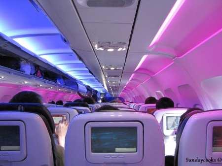 Como é voar de Virgin America - interior da cabine