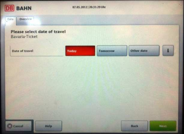 Como comprar o Bayern Ticket - Selecione a data
