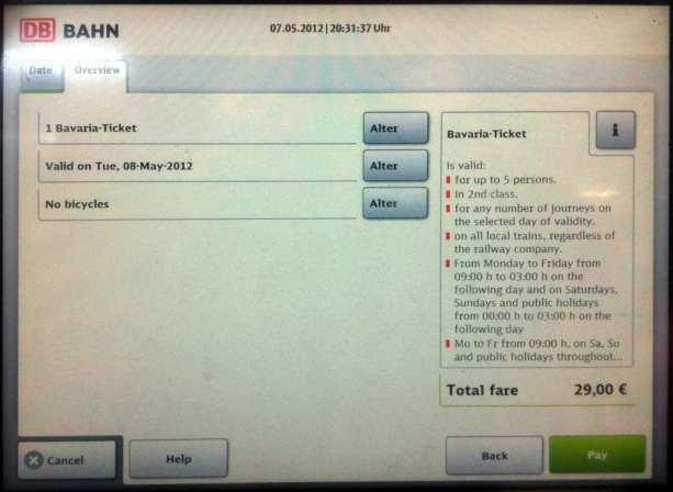 Como comprar o Bayern Ticket - Revise e pague