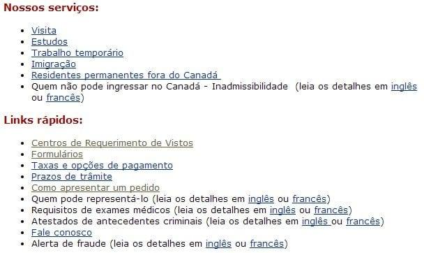 Como tirar o visto canadense - links úteis da Embaixada Canadense