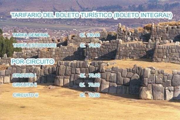 Boleto Turístico de Cusco - Valores